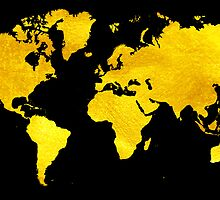 Black and Gold Map of The World - World Map for your walls by DejaVuStudio