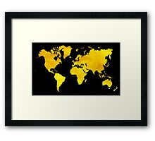 Black and Gold Map of The World - World Map for your walls Framed Print