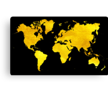 Black and Gold Map of The World - World Map for your walls Canvas Print