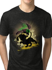 Super Smash Bros. Yellow Duck Hunt Dog Silhouette Tri-blend T-Shirt