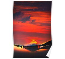 sunset at mystical mount fuji japan  crayons Poster