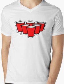 Beer Pong Cutout Mens V-Neck T-Shirt