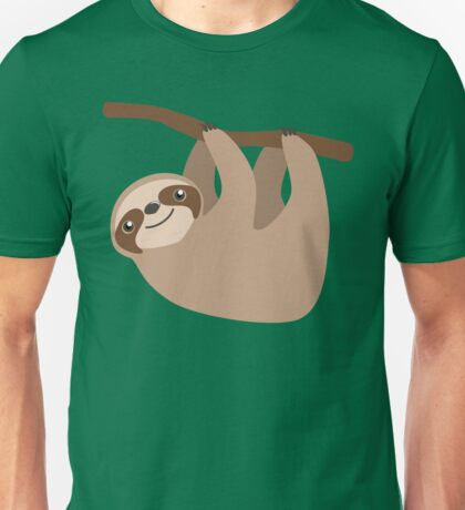 Cute Sloth on a Branch Unisex T-Shirt