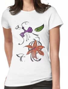 Abstract Flowers Womens Fitted T-Shirt