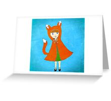 Little Fox Girl Greeting Card