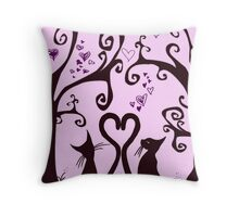 valentine cats Throw Pillow