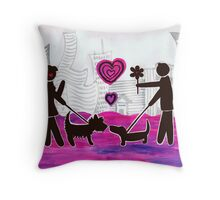 valentine dogs Throw Pillow