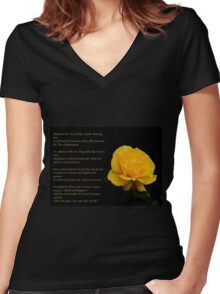 Yellow Rose With Verse - Pluck Not the Rose  Women's Fitted V-Neck T-Shirt