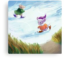 Skating mice Canvas Print