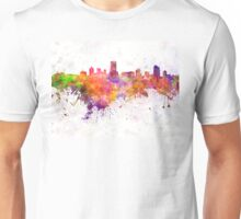 Milwaukee skyline in watercolor background Unisex T-Shirt
