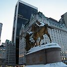 Snow-Covered Statue, Plaza Hotel at Dusk, Central Park South, New York City by lenspiro