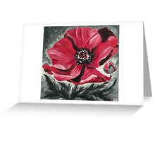Red and Black Poppy in Bloom Greeting Card