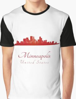 Minneapolis skyline in red Graphic T-Shirt