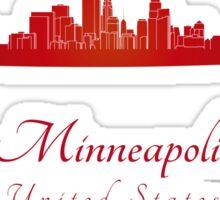 Minneapolis skyline in red Sticker
