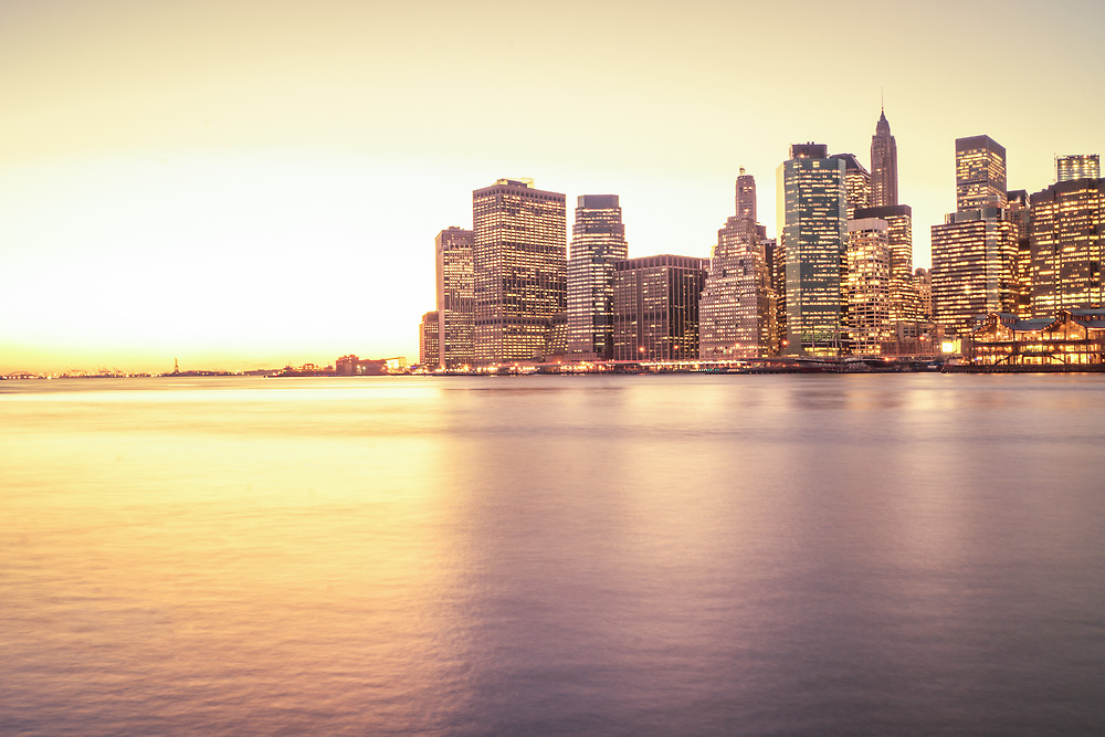 New York City - Skyscrapers at Sunset by Vivienne Gucwa