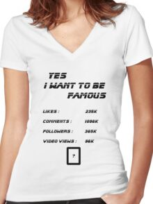 Yes I Want To Be Famous  Women's Fitted V-Neck T-Shirt