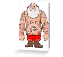 Brutal Santa Claus Bodybuilder, tattoos Greeting Card