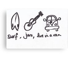 Surf Jam Live in a van Canvas Print
