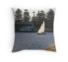 Grass, Wind & Boats Throw Pillow