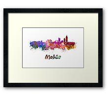 Mobile skyline in watercolor Framed Print