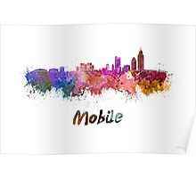 Mobile skyline in watercolor Poster