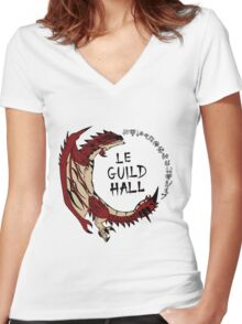 Monster Hunter Le Guild Hall-Rathalos Version 2 Base Colors Women's Fitted V-Neck T-Shirt