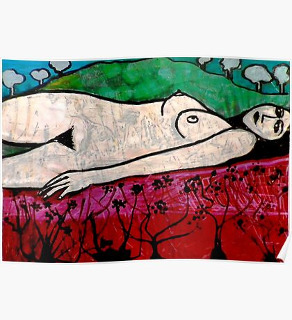 Nude in a Landscape 1 -  Mixed Media Poster