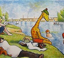 Art Giraffe- Bathers at Asnieres by Sundayink