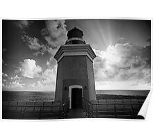 Lighthouse Tower Against Dramatic Sky Poster