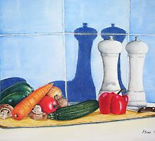 still life realist art peppers and vegetables  by pollywolly