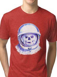 skull in space helmet Tri-blend T-Shirt