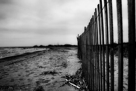 Beach Fence-B&W by Smile79