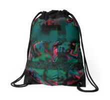 Flora Celeste Jade Glitch  Drawstring Bag