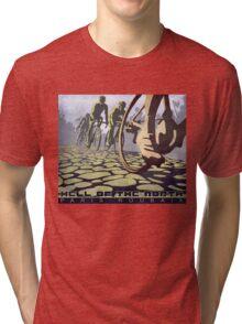 cycling illustration HELL OF THE NORTH retro Paris Roubaix  Tri-blend T-Shirt