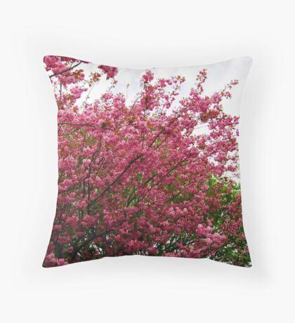 Deep Pink Tree Blossoms Throw Pillow