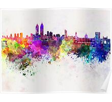 Mumbai skyline in watercolor background Poster