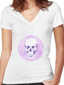 skull watercolor circle Women's Fitted V-Neck T-Shirt