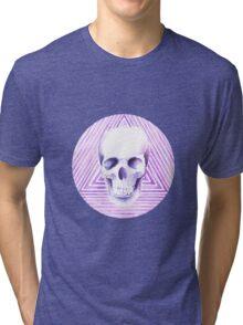 skull watercolor circle Tri-blend T-Shirt