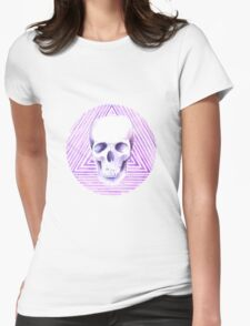skull watercolor circle Womens Fitted T-Shirt