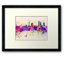 Munich skyline in watercolor background Framed Print