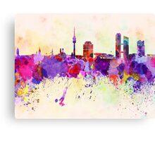Munich skyline in watercolor background Canvas Print