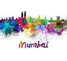 Mumbai skyline in watercolor by paulrommer