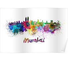 Mumbai skyline in watercolor Poster