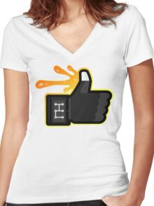FACEBOOK X GHOSTBUSTERS (GB3 SLIMED) Women's Fitted V-Neck T-Shirt