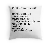 Choose your weapon, fandoms. Throw Pillow