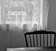 Window, Chair and Table Inside A Historic Barge by Scott Johnson