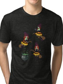 Dark Witch with Broom 2 Tri-blend T-Shirt