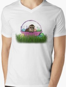 Easter Raccoon Mens V-Neck T-Shirt
