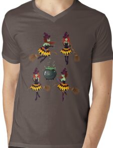 Dark Witch with Broom 3 Mens V-Neck T-Shirt