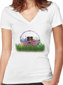 Easter Sheltie Puppy Women's Fitted V-Neck T-Shirt